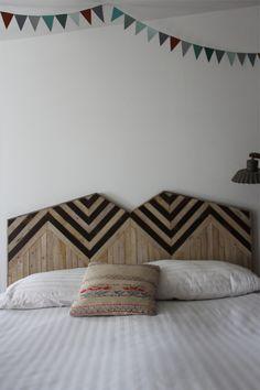 Chevron pattern wood headboard by brooklyntowest
