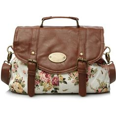 Floral Print Satchel Bag George at Asda ($8.55) ❤ liked on Polyvore featuring women's fashion, bags, handbags, purses, accessories, bolsas, bolsos, brown hand bags, hand bags and brown satchel