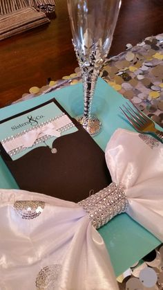 Inspired by  Tiffany blue and silver  table  setting
