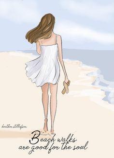 Beach Walks are Good for the Soul - Motivational Art for Women - Heather Stillufsen - Cards, art prints