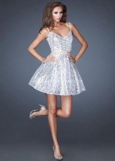 La Femme 18941 White Short Spaghetti Straps Homecoming Dress