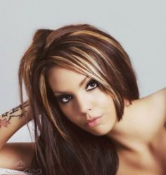 Like the hair color & chunky highlights - but red instead of blonde.