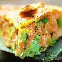 Tourte au saumon et aux poireaux.