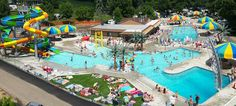aerial photo of Kamp Dels Campground showing water slides, pools and beautiful seating