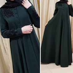 No photo description available. Abaya Fashion, Muslim Fashion, Fashion Dresses, Hijab Dress Party, Modele Hijab, Arabic Dress, Mode Abaya, Sleeves Designs For Dresses, Hijab Style