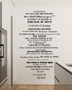 Geeks at heart will love these In This House We Do Geek Wall Decal featuring a mixture of geeky one-liners including Disney, Harry Potter & Star Trek! Disney Wall Decals, Wall Decal Sticker, Wall Stickers, Geek Decor, Guide To The Galaxy, In This House We, One Liner, Wall Quotes, Book Nerd