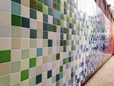 A shot of Ptolemy Mann's Prismatic Landscape tile mural with Johnson Tiles, outside the Farmiloe Building at Clerkenwell Design Week 2014, from the blog of textile designer Eleanor Pritchard.  #CDW2014