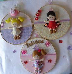 Três quadros de bonecas com o nome personalizado!!! <br> 22cm <br>FRETE GRÁTIS!!!!!!!!!!!