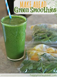 Make Ahead Green Smoothies (or ANY other kind of smoothie) - it's so easy!!! Add your ingredients to a bag and freeze. You can freeze yogurt in ice cube trays first too. YUMM!