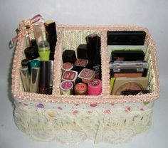 DIY: 25 Tips For Storing Your Makeup; where can i find a basket as cute as this sectioned off in the same way?