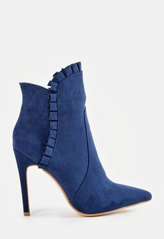 A Victorian inspired faux suede bootie with a ruffled detail, inner zip closure, and covered block heel. Fab Shoes, Me Too Shoes, Shoes Heels, Suede Booties, Bootie Boots, Shoe Boots, High Heel Boots, Heeled Boots, High Heels