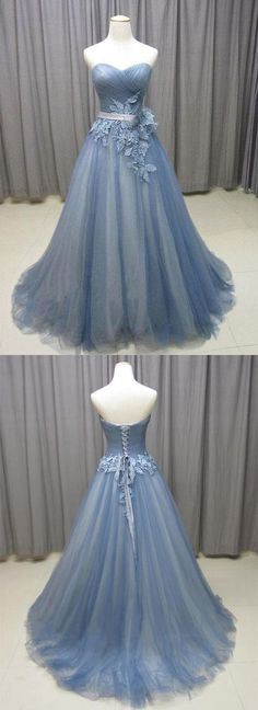 Sweetheart neck gray blue tulle long senior prom dress, long evening dress with lace appliques #prom #dress #gowns #promdress #weddingdresses