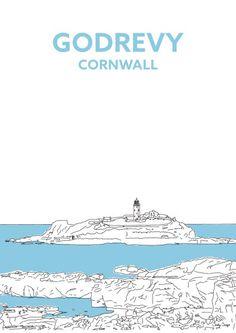 GODREVY LIGHTHOUSE, CORNWALL TRAVEL PRINT, Salty Songs, Cornwall Blog