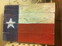 Distressed Texas Flag on Vintage Pine Boards/ Red, White & Blue Wood Texas Flag/ Home Decor. $45.00, via Etsy.