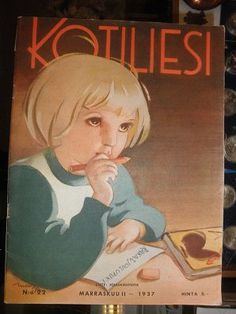 Kotiliesi Magazine cover by Martta Wendelin, Finnish Women, Girl Face Drawing, Old Commercials, Vintage Postcards, Magazine Covers, Album Covers, Martini, Illustrators, Scandinavian