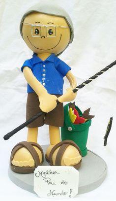 Boneco Vovô Pescador em E.V.A.. Super presente para o vovô, presente de aniversário, etc <br> <br>Consulte-nos para personalizar com o nome, no mesmo material e lembrancinhas.