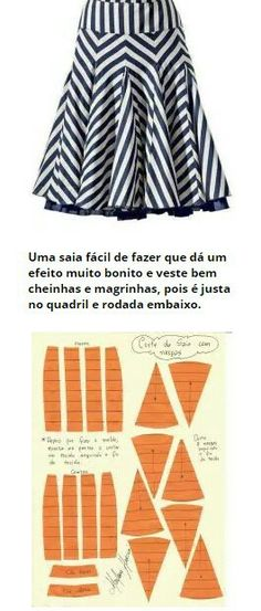 Sewing Skirts Saia com Nesgas e cós anatômico – DIY – molde, corte e costura – Marlene Mukai Easy Sewing Projects, Sewing Projects For Beginners, Sewing Hacks, Sewing Patterns Free, Clothing Patterns, Dress Patterns, Diy Vetement, Diy Couture, Leftover Fabric