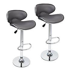 gothobby 2 pcs gray modern bar stool adjustable height sw https - Amazon Bar Stools