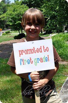 "Change the sign to ""Promoted to Kindergarten"" Pre K Graduation, Kindergarten Graduation, Graduation Ideas, Graduation Parties, Graduation Decorations, Grad Pics, Graduation Pictures, Kindergarten Party, Kindergarten Pictures"