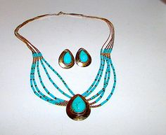 Native American Zuni Sterling Silver Turquoise Necklace Earrings Set Sensa Eustace Signed