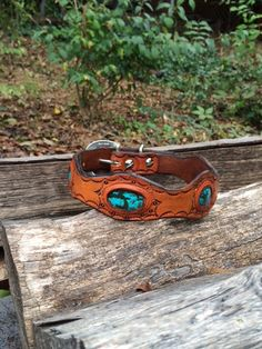 Handmade Turquoise and Leather Dog Collar by EmbraceChange on Etsy