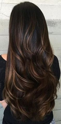 brunette hair color with caramel ribbons. Really long wavely hair.
