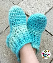 Made from Red Heart Boutique Infinity Yarn: Big Kids Happy Feet Slippers free crochet pattern by Heidi Yates