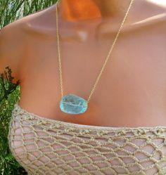 Raw+Aqua+Blue+Quartz+Necklace.+Rough+Stone+by+cuppacoffee+on+Etsy,+$22.00