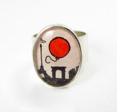 Le Ballon Rouge -- Adjustable Sterling Silver Plated Ring by Sarah-Lambert Cook
