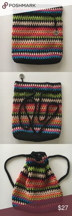 The Sak crochet backpack Really excellent condition darling backpack made out of cotton multi color crochet. Used minimally. Great size. 13 x 13. Super cute! The Sak Bags Backpacks