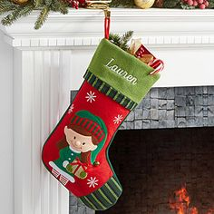 Make your home more festive this Christmas with the Personalized Christmas Stockings - Girl Elf. Find the best personalized Christmas gifts at PersonalizationMall.com