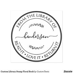 Custom Library Stamp Floral Book