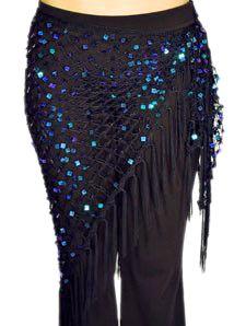 The lightweight black crochet mesh net shawl scarf with square blue/green sequins & fringe will stay secure throughout the whole performance. Belly Dance Belt, Tribal Belly Dance, Tribal Fusion, Dance Fashion, Boho Fashion, Latin Dance Dresses, Renaissance Costume, Belly Dance Costumes, Black Opal