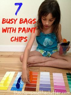 7 ideas for making simple and very inexpensive busy bags with paint chips.