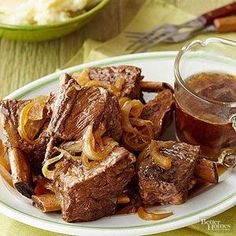 Pair this slow cooker Beer-Braised Beef Short Ribs recipe on top of a scoop of mashed potatoes or a slice of toast to soak up all of the amazing savory sauce.