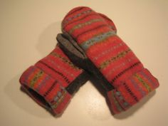MMC0033 Punch of Pink Wool Mittens womens by MichMittensbyLauri, $23.00