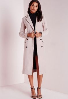 Double Breasted Tailored Long Wool Coat Mauve