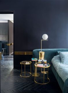 We fell in love with the sumptuous styling in December's Elle Decoration issue. Featuring the Flos IC Floor Lamp Interior Styling, Interior Decorating, Interior Design, Black Upholstered Headboard, Velvet Headboard, Living Spaces, Living Room, Elle Decor, Home Bedroom