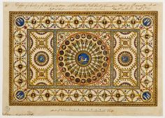 Design of a ceiling for the great room at Coventry House, 1765, executed with minor alterations.