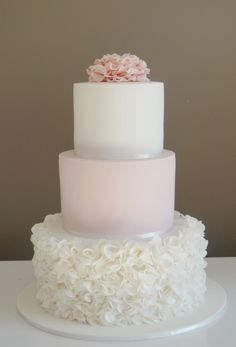 PINK AND WHITE WEDDING CAKE #VERY PRETTY 3 tier cake with ruffle rose bottom tier and ruffle flower topper