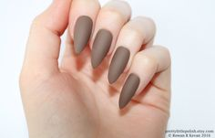 Matte cappuccino stiletto nails, Fake nail, Stiletto nail, Kylie jenner, Press on nail, Acrylic nail, Fake nail stiletto by prettylittlepolish on Etsy https://www.etsy.com/listing/469850559/matte-cappuccino-stiletto-nails-fake