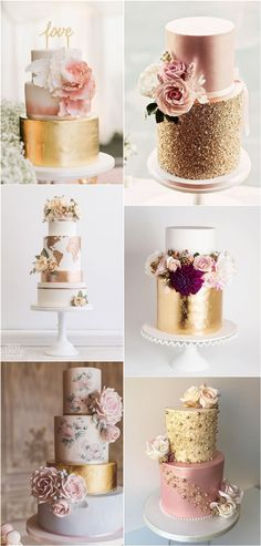 Wedding Cake Trends – 20 Metallic Wedding Cakes metallic gold wedding cake ideas This image. Metallic Cake, Metallic Wedding Cakes, Floral Wedding Cakes, Wedding Cake Rustic, Elegant Wedding Cakes, Wedding Cake Designs, Wedding Cake Toppers, Metallic Gold, Wedding Cake Vintage