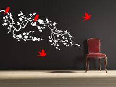 "Cherry Blossom Branch Wall Decal HB56 Blossom Branch Wall Decal- by Decor Designs Decals 56"" WIDE X 29"" HIGH measurement for branch only (does not include flying birds) Available in the colors of your"