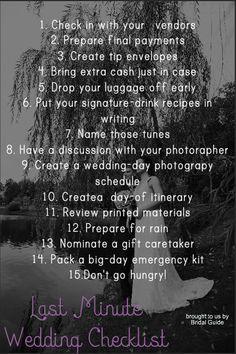 The ultimate last minute wedding checklist for any bride-to-be! #wedding #weddingplanning #weddingday #weddingchecklist #dayofwedding
