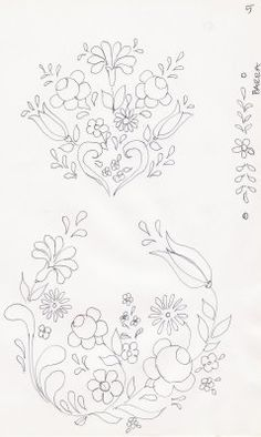 Fabric Painting Step by Step with Photos: Bauernmalerei Risk Painting Fabric Tambour Embroidery, Hungarian Embroidery, Hand Embroidery Flowers, Hand Embroidery Patterns, Vintage Embroidery, Embroidery Applique, Bordado Popular, Rosemaling Pattern, Motifs Perler