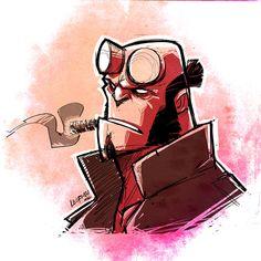 Charmingly Cool Geek Art by Derek Laufman - Star Wars, Deadpool, Wolverine and… Cartoon Kunst, Comic Kunst, Cartoon Art, Comic Books Art, Comic Art, Hellboy Tattoo, Dark Horse Comics, Mike Mignola Art, Cartoon Sketches
