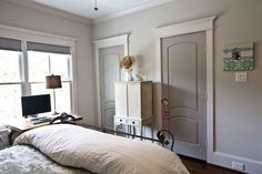 Trim Eider White All by Sherwin Williams Paint/ trim- Walls Agreeable Gray. Trim Eider White All by Sherwin Williams Interior Door Colors, Grey Interior Doors, Painted Interior Doors, Grey Doors, Interior Trim, Painted Doors, Interior Design, Wood Doors, Interior Architecture