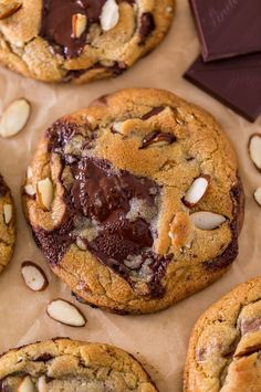 Thick and chewy Almond Amaretto Chocolate Chunk Cookies! These are so flavorful and one of the BEST cookie recipes we've ever made. If you love almonds and chocolate, you have to try them! Cookie Desserts, Just Desserts, Delicious Desserts, Dessert Recipes, Yummy Food, Cookie Favors, Recipes Dinner, Best Cookie Recipes, Baking Recipes
