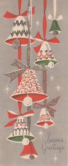 Vintage Christmas Card, Holiday Bells, Retro Christmas