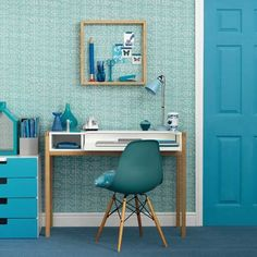 Wohnideen  Arbeitszimmer Home Office Büro - Moderne blaue Home-Office